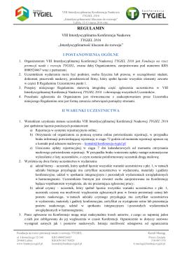 Regulamin VIII Interdyscyplinarnej Konferencji