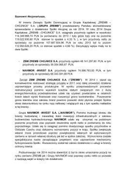 Raport roczny 2014 - Pismo do Akcjonariuszy.