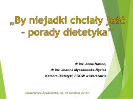 Prelekcja Wszechnicy Żywieniowej w dn. 15 kwietnia