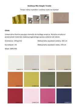 Kolekcja Mio Simple Textile Twoje rolety rzymskie i