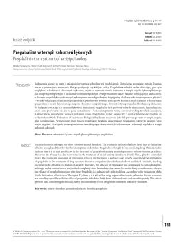 Pregabalina w terapii zaburzeń lękowych Pregabalin in the