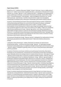 Raport bieżący 22/2015 Zarząd Arcus S.A. z siedzibą w Warszawie