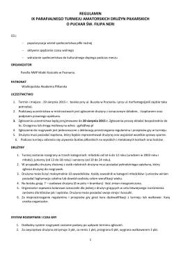 Regulamin IX Parafialnego Turnieju Amatorskich Drużyn Piłkarskich