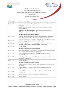 program konferencji - Międzynarodowa Konferencja pn.