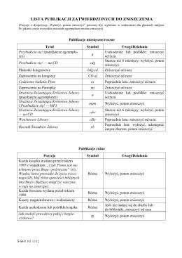 lista publikacji zatwierdzonych do zniszczenia
