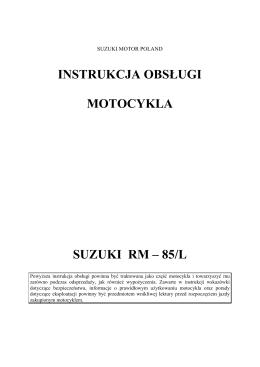 instrukcja obsługi motocykla suzuki rm – 85/l