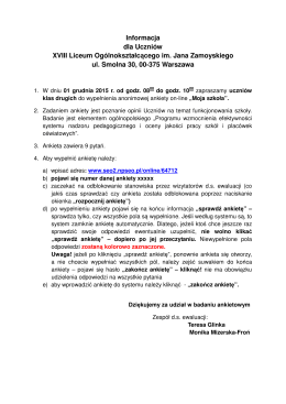 Informacja dla Uczniów XVIII Liceum Ogólnokształcącego im. Jana