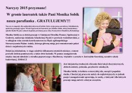 Narcyzy 2015 przyznane! W gronie laureatek także Pani Monika