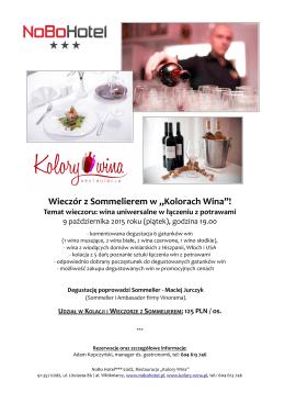 """Wieczór z Sommelierem w """"Kolorach Wina""""!"""