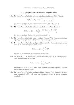 7. Asymptotyczne własności estymatorów