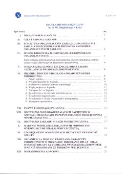 Regulamin Organizacyjny - Wojewódzki Specjalistyczny Szpital im