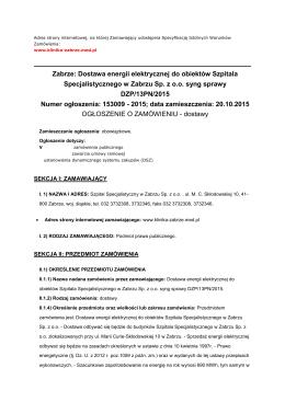 ogloszene DZP13PN2015 - Szpital Specjalistyczny w Zabrzu