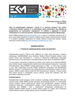 Informacja prasowa nr 2/2015 20 maja 2015 Jakie