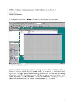 Po uruchomieniu środowiska Delphi ekran powinien przedstawiać