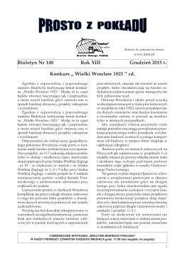 Biuletyn Nr 148 Rok XIII Grudzień 2015 r. Konkurs ,, Wielki Wrocław