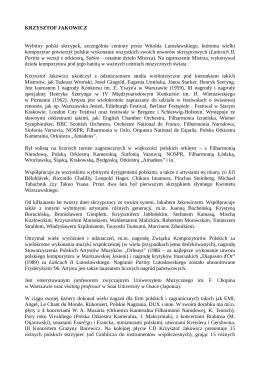 KRZYSTOF JAKOWICZ - nota biograficzna