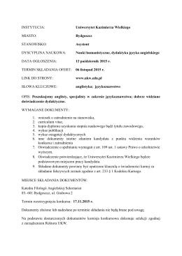 Uniwersytet Kazimierza Wielkiego MIASTO: Bydgoszcz