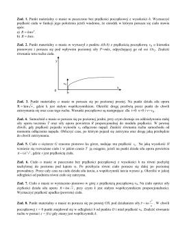 Przykładowe zadania z dynamiki punktu materialnego