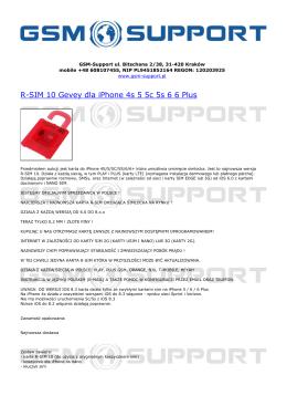 R-SIM 10 Gevey dla iPhone 4s 5 5c 5s 6 6 Plus - GSM