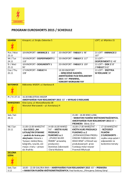 PROGRAM EUROSHORTS 2015 / SCHEDULE