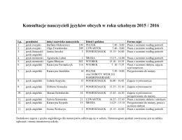Konsultacje nauczycieli języków obcych w roku szkolnym 2015/2016