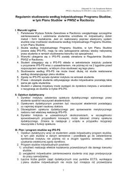Regulamin studiowania według Indywidualnego Programu Studiów