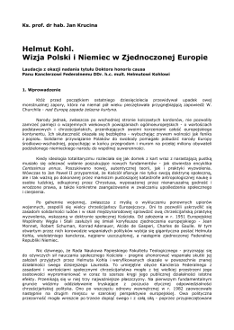 Laudacja ks. prof. dr hab. Jana Kruciny