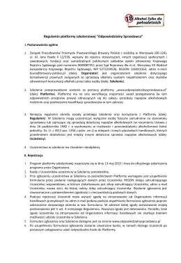 """Regulamin platformy szkoleniowej """"Odpowiedzialny Sprzedawca"""""""