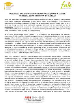 możliwości zmiany statutu organizacji pozarządowej w zakresie