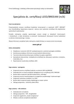 Specjalista ds. certyfikacji LEED/BREEAM (m/k)