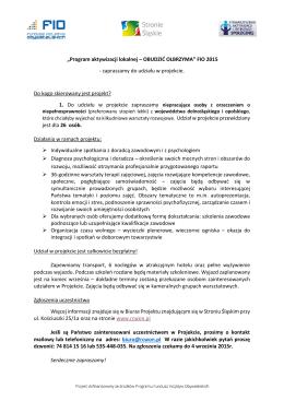 """""""Program aktywizacji lokalnej – OBUDZIĆ OLBRZYMA"""" FIO"""