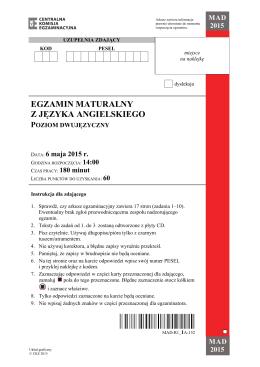egzamin maturalny z języka angielskiego poziom