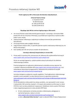 Procedura reklamacji dysków WD