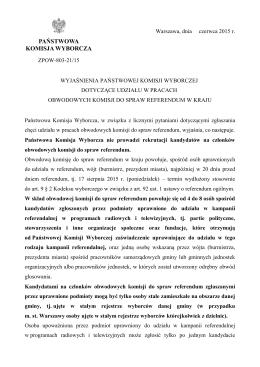 Wyjaśnienia Państwowej Komisji Wyborczej