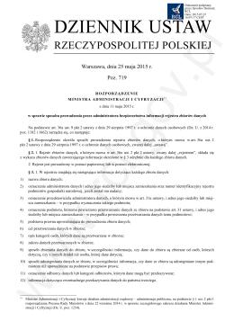 Rozporządzenie Ministra Administracji i Cyfryzacji w sprawie