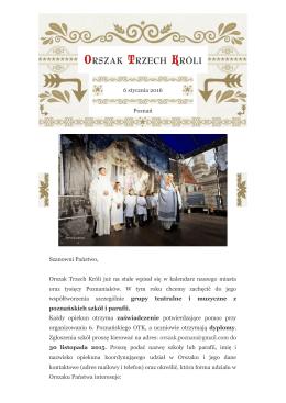 6 stycznia 2016 Poznań Szanowni Państwo, Orszak Trzech Króli już