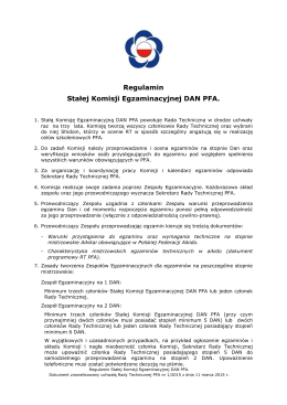 Pobierz Regulamin stałej komisji egzaminacyjnej dan PFA