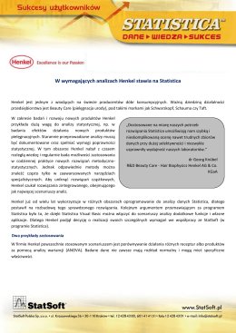 W wymagających analizach Henkel stawia na Statistica