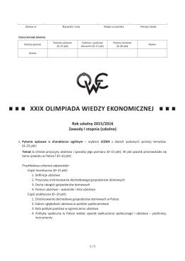XXIX OWE - Olimpiada Wiedzy Ekonomicznej