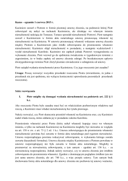Kazus – egzamin 1 czerwca 2015 r. Kazimierz zawarł z Piotrem w