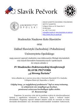 Studenckie Naukowe Koło Slawistów oraz Zakład Slawistyki