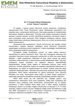 pismo z dnia 20.07.2015 - Klub Miłośników Komunikacji Miejskiej w