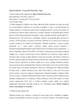 Sprawozdanie z wyjazdu Erasmus