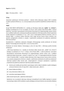 Raport bieżący 45/2015