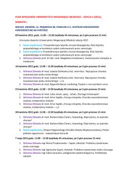 plan wykładów uniwersytetu niegasnącej młodosci – edycja 3 (2015)
