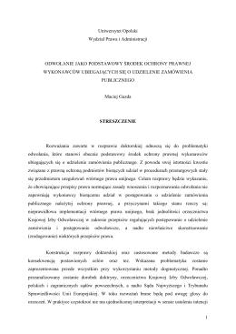 Streszczenie - Wydział Prawa i Administracji