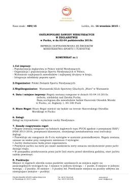Nasz znak: 489/15 Lublin, dn. 16 września 2015 r. OGÓLNOPOLSKI