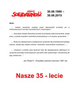 """Nasze 35 - lecie - """"Solidarność"""" ZUT w Szczecinie"""