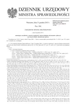 Zarządzenie Ministra Sprawiedliwości z dnia 30 grudnia 2015 r