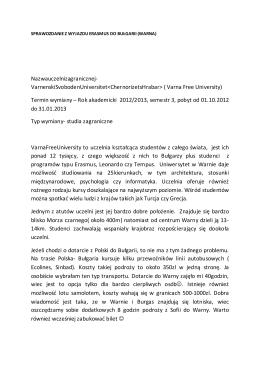 ( Varna Free University) Termin wymiany – Rok